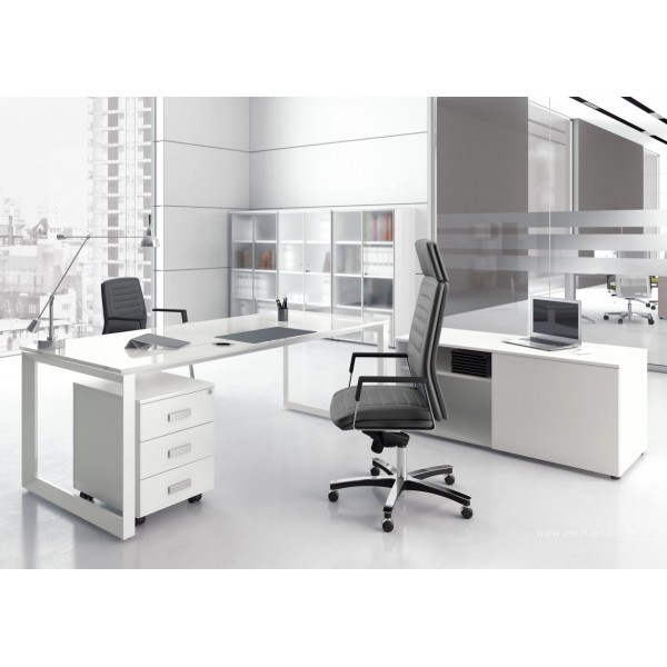 Bureau direction 5th el ment finition verre blanc for Fabricant de mobilier de bureau