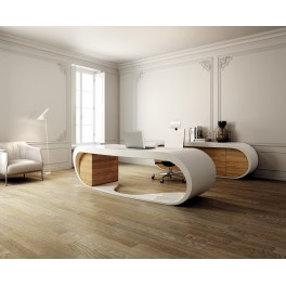 bureau de direction goggle blanc brillant et olivier par babini. Black Bedroom Furniture Sets. Home Design Ideas