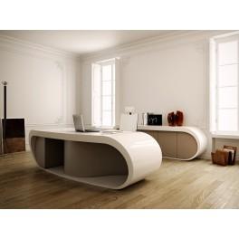bureau de direction goggle blanc brillant et gris par babini. Black Bedroom Furniture Sets. Home Design Ideas