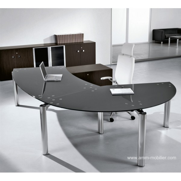 bureau de direction arrondi avec retour must finition verre noir babini. Black Bedroom Furniture Sets. Home Design Ideas