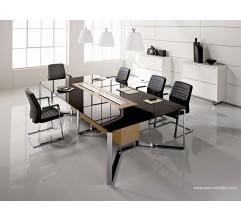 Table de réunion I-Meet rectangulaire en verre noir