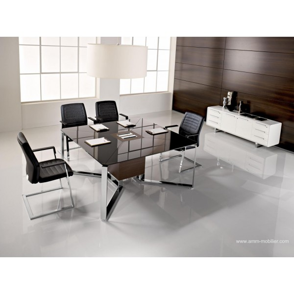 table de r union i meet carr e en verre noir par las. Black Bedroom Furniture Sets. Home Design Ideas