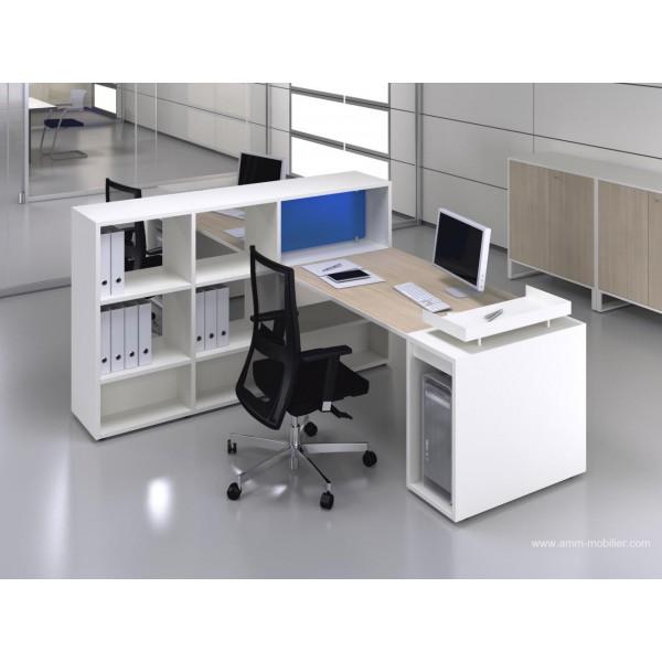 bureau op ratif droit logic bois naturel et blanc configuration c te c te fabricant las. Black Bedroom Furniture Sets. Home Design Ideas