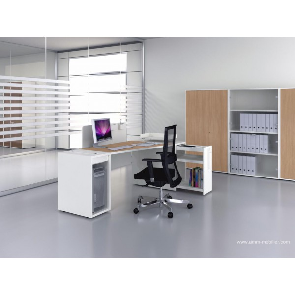 bureau op ratif trap ze logic bois naturel et blanc fabricant las. Black Bedroom Furniture Sets. Home Design Ideas