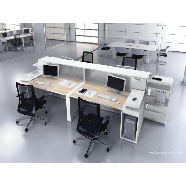 bureau op ratif droit logic bois naturel et blanc configuration 4 postes face face fabricant las. Black Bedroom Furniture Sets. Home Design Ideas