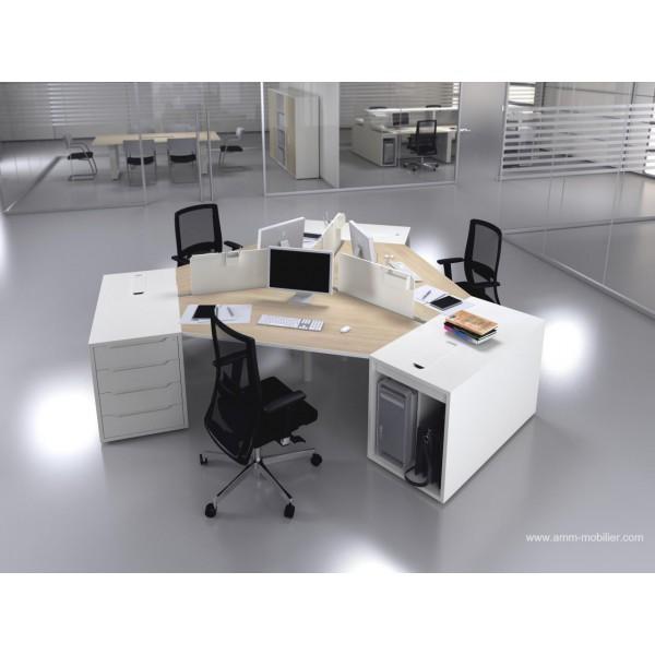 bureau op ratif 120 degr s logic bois naturel et blanc. Black Bedroom Furniture Sets. Home Design Ideas