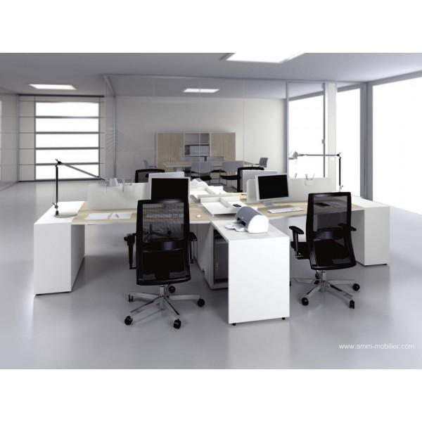 Bureau op ratif trap ze logic bois naturel et blanc for Mobilier bureau 4 postes