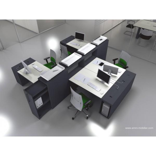Bureau op ratif droit logic noir et blanc configuration for Bureau noir et blanc