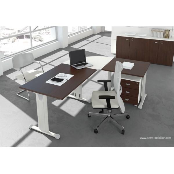 bureau op ratif droit oxi weng et blanc avec retour par le fabricant las. Black Bedroom Furniture Sets. Home Design Ideas