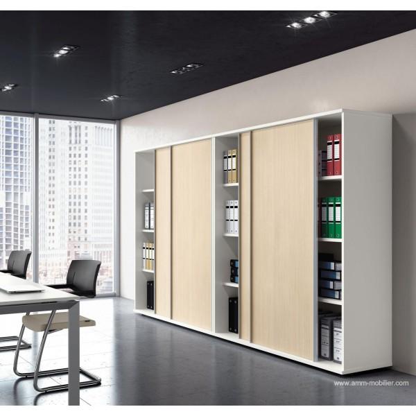 Armoire blanche universel avec portes coulissantes rable for Armoire blanche bureau