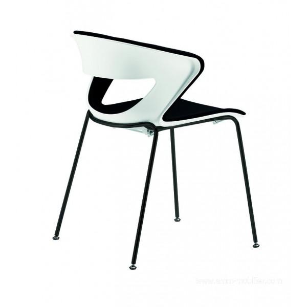 Chaise polyvalente 4 pieds kicca avec assise et dossier for Sedia kicca