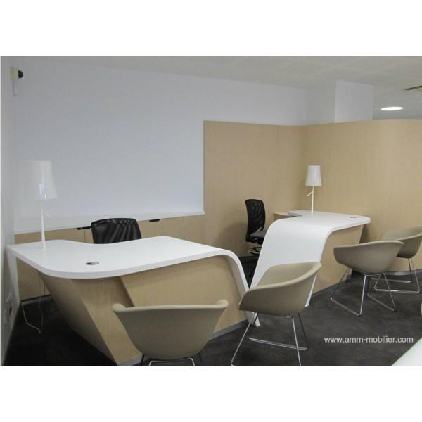 banque d 39 accueil sur mesure finition ch ne clair et. Black Bedroom Furniture Sets. Home Design Ideas