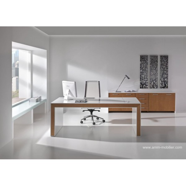 bureau de direction belesa finition laqu blanc et ch ne clair par ofifran. Black Bedroom Furniture Sets. Home Design Ideas