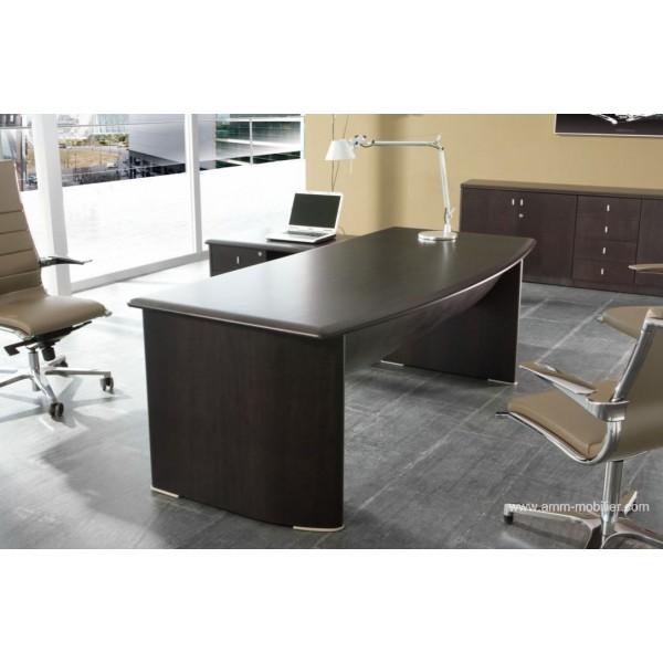bureau de direction numen finition bois marron laqu mat par ofifran. Black Bedroom Furniture Sets. Home Design Ideas