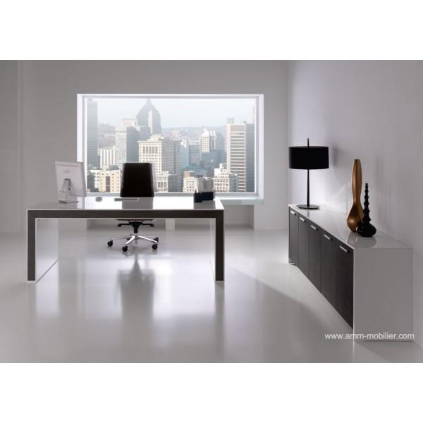 bureau de direction belesa finition laqu blanc et ch ne weng par ofifran. Black Bedroom Furniture Sets. Home Design Ideas