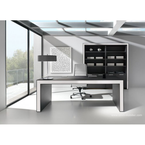 bureau de direction belesa finition ch ne noir et blanc par ofifran. Black Bedroom Furniture Sets. Home Design Ideas