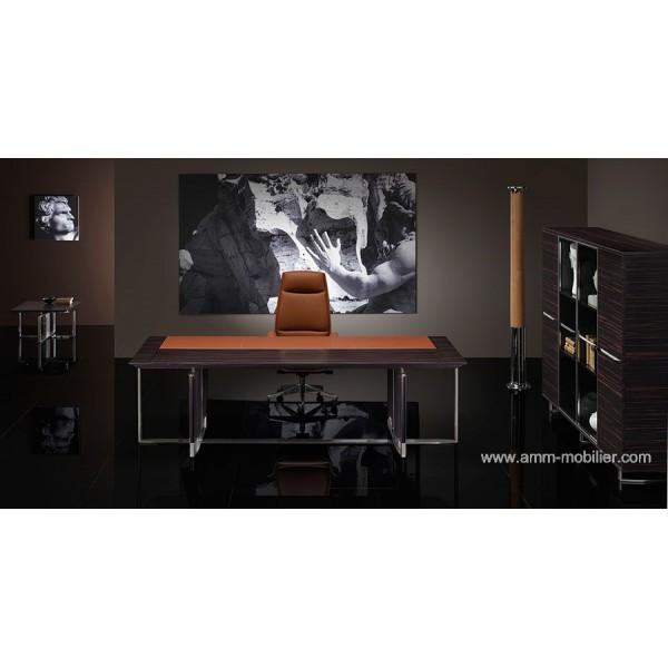 bureau de direction bernini droit finition ebene et cuir cognac par ora acciaio. Black Bedroom Furniture Sets. Home Design Ideas