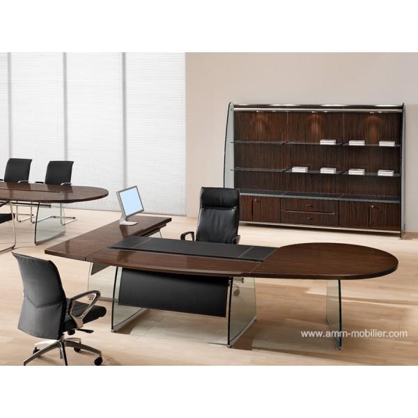bureau de direction flute finition ebene avec retour rond par ora acciaio. Black Bedroom Furniture Sets. Home Design Ideas