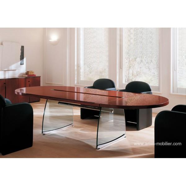table de r union ovale flute finition acajou honduras par ora acciaio. Black Bedroom Furniture Sets. Home Design Ideas