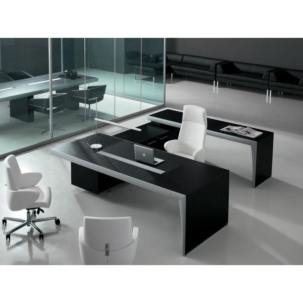 bureau direction cx noir et aluminium par frezza. Black Bedroom Furniture Sets. Home Design Ideas