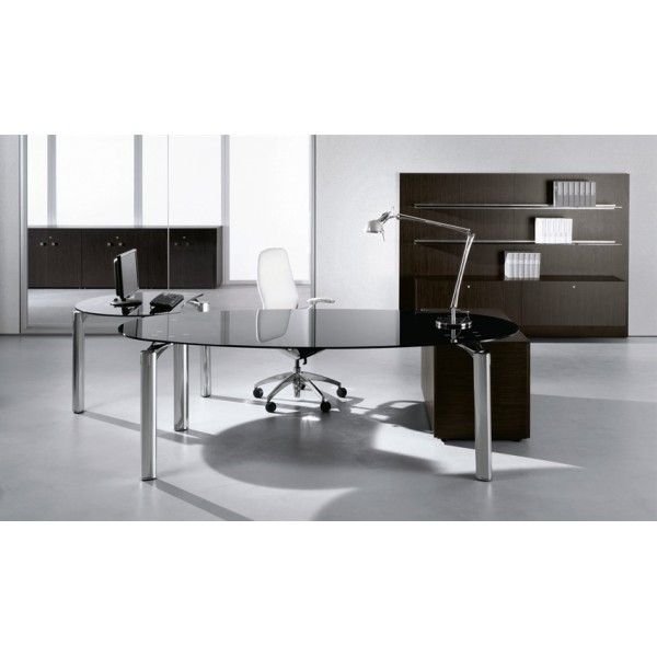 Bureau direction must finition verre noir babini for Bureau verre noir