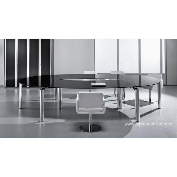 table de r union ovale en verre must par babini. Black Bedroom Furniture Sets. Home Design Ideas